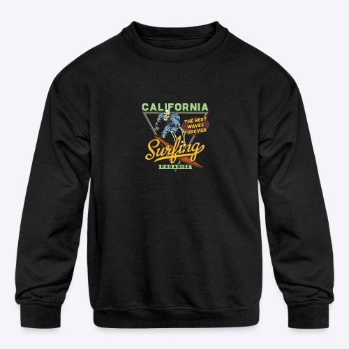 California Surfing Paradise - Kids' Crewneck Sweatshirt