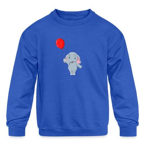 Baby Elephant Holding A Balloon - Kids' Crewneck Sweatshirt