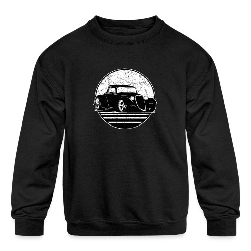 Retro Hot Rod Grungy Sunset Illustration - Kids' Crewneck Sweatshirt