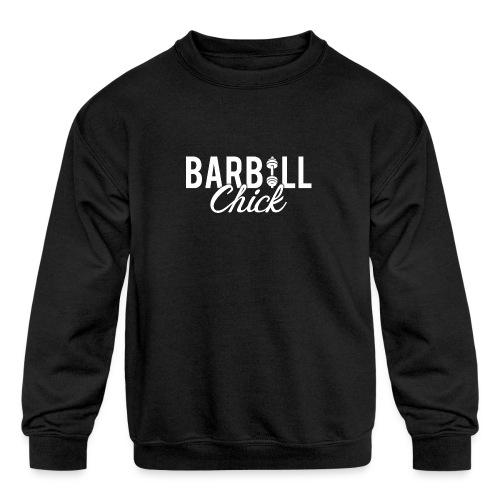 Barbell Fitness Chick - Kids' Crewneck Sweatshirt