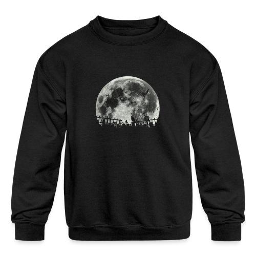Scary Halloween moon - Kids' Crewneck Sweatshirt