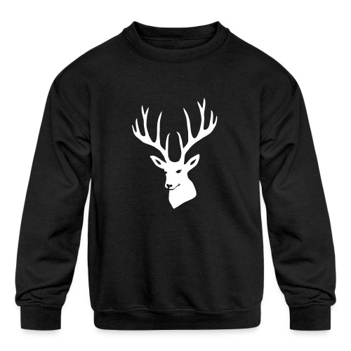 stag night deer buck antler hart cervine elk - Kids' Crewneck Sweatshirt