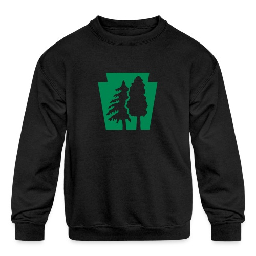 PA Keystone w/trees - Kids' Crewneck Sweatshirt