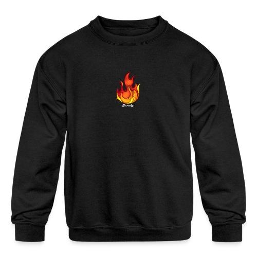 Scorchy White Logo - Kids' Crewneck Sweatshirt