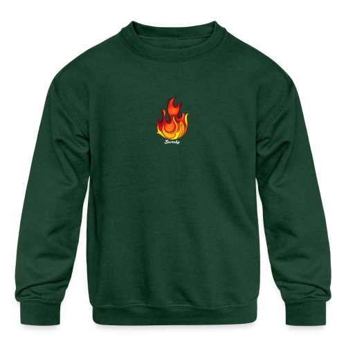 Scorchy White Logo - Kids' Crewneck Sweatshirt