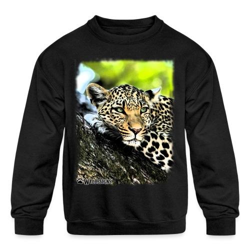Leopard On A Tree - Kids' Crewneck Sweatshirt