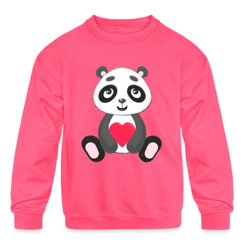 Sweetheart Panda - Kids' Crewneck Sweatshirt