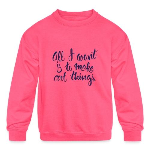 Cool Things Navy - Kids' Crewneck Sweatshirt