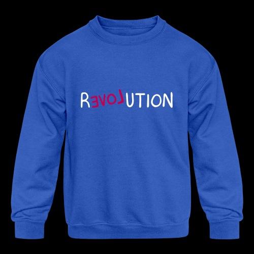 re-LOVE-ution - Kids' Crewneck Sweatshirt