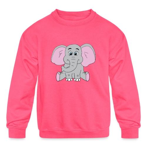 Cute Baby Elephant - Kids' Crewneck Sweatshirt