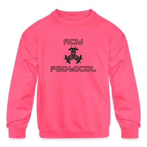 ACID PROTOCOL OFFICIAL LOGO BLACK - Kids' Crewneck Sweatshirt