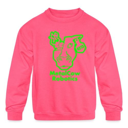 MetalCowLogo GreenOutline - Kids' Crewneck Sweatshirt