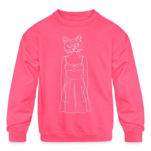 Hipster Cat - Kids' Crewneck Sweatshirt