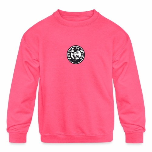 Solid Puttin' In Work Logo - Kids' Crewneck Sweatshirt