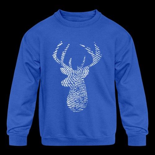 Deer Tracker Fingerprint - Kids' Crewneck Sweatshirt