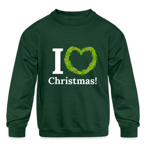 I Love Heart Christmas - Xmas Wreath Design! - Kids' Crewneck Sweatshirt