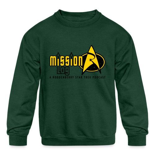Logo Wide 2 Color Black Text - Kids' Crewneck Sweatshirt