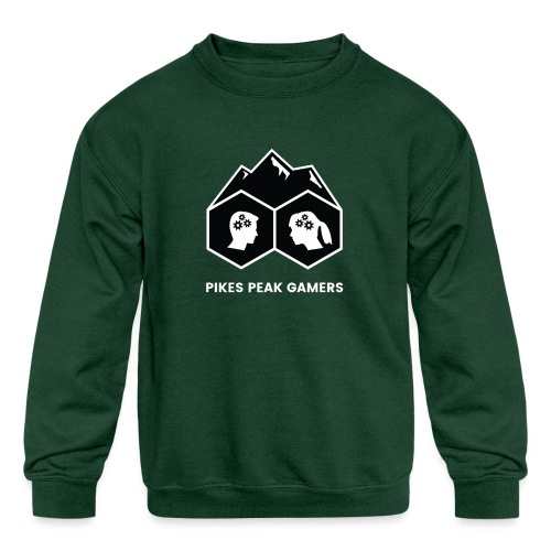 Pikes Peak Gamers Logo (Solid Black) - Kids' Crewneck Sweatshirt