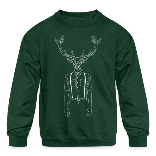 Hipster Stag - Kids' Crewneck Sweatshirt