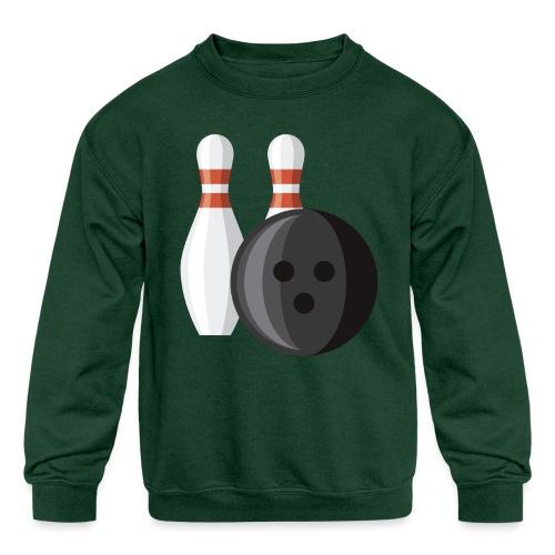Bowling Ball and Pins - Kids' Crewneck Sweatshirt