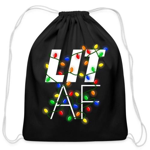 LIT AF Funny Christmas Lights Drunk Christmas - Cotton Drawstring Bag