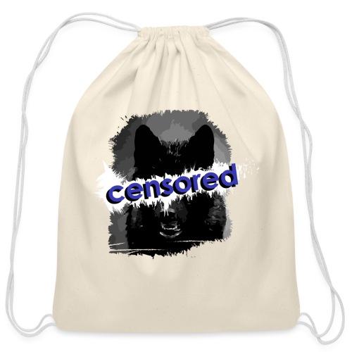 Wolf censored - Cotton Drawstring Bag