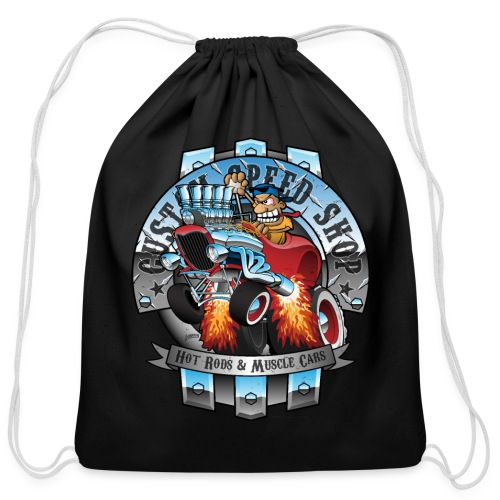 Custom Speed Shop Hot Rods and Muscle Cars Illustr - Cotton Drawstring Bag