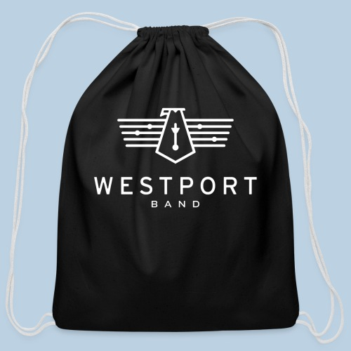 Westport Band White on transparent - Cotton Drawstring Bag