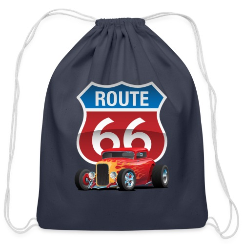 Route 66 Sign with Classic American Red Hotrod - Cotton Drawstring Bag