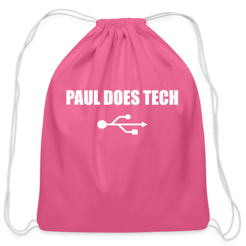 Paul Does Tech White Logo With USB - Cotton Drawstring Bag