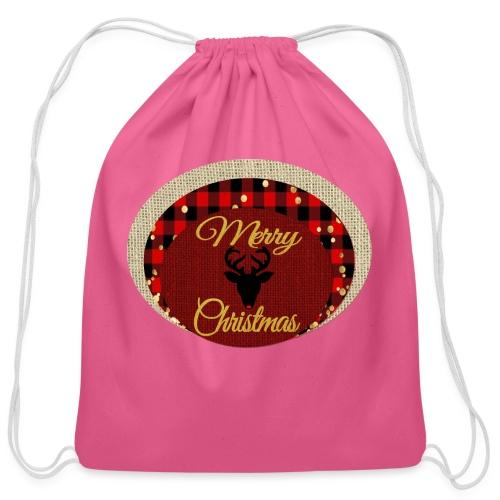 merry christmas - Cotton Drawstring Bag