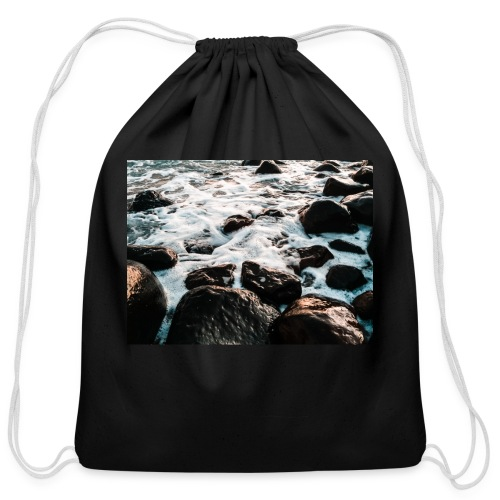 Rocks at the beach - Cotton Drawstring Bag
