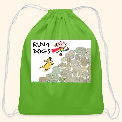 Dog chasing kid - Cotton Drawstring Bag