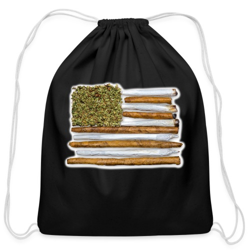 American Flag With Joint - Cotton Drawstring Bag