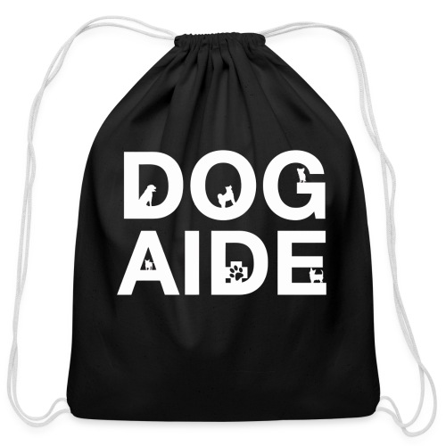 dog aide NEW white - Cotton Drawstring Bag