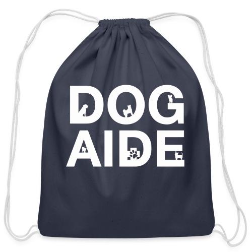 dog aide NEW white - Cotton Drawstring Bag