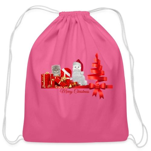 Christmas kittens - Cotton Drawstring Bag