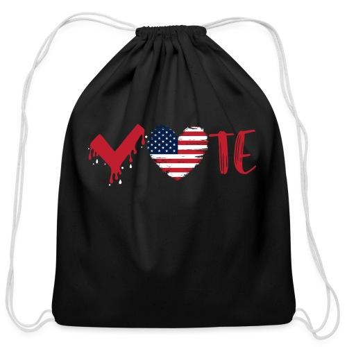 vote heart red - Cotton Drawstring Bag