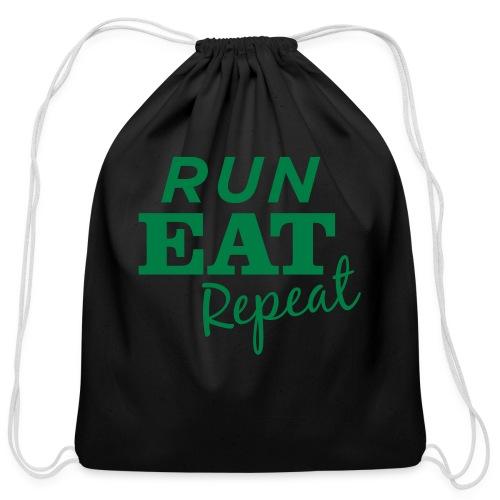 Run Eat Repeat buttons medium - Cotton Drawstring Bag
