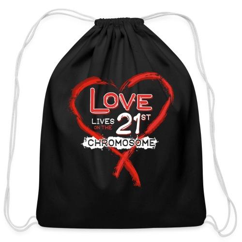 Down Syndrome Love (Red/White) - Cotton Drawstring Bag
