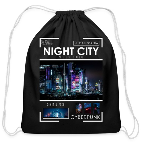 Night City Pacifica Skyline - Cotton Drawstring Bag