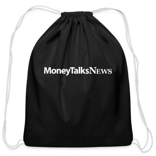 Money Talks News Logo - White - Cotton Drawstring Bag