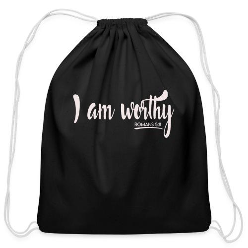 I am worth Romans 5:8 - Cotton Drawstring Bag