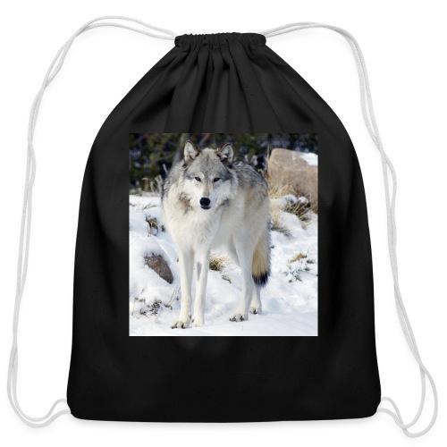 Canis lupus occidentalis - Cotton Drawstring Bag