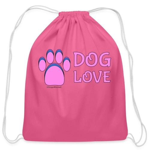 Pink Dog paw print Dog Love - Cotton Drawstring Bag