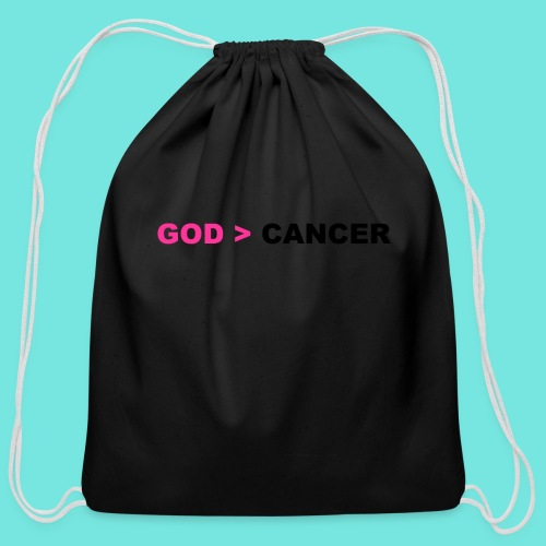 GOD IS GREATER THAN CANCER - Cotton Drawstring Bag