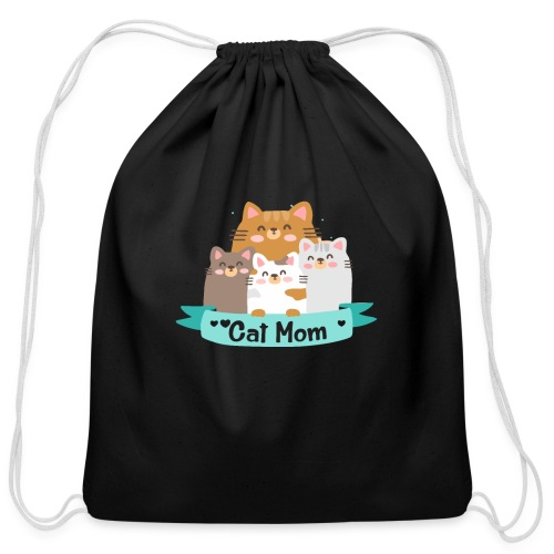Cat MOM, Cat Mother, Cat Mum, Mother's Day - Cotton Drawstring Bag