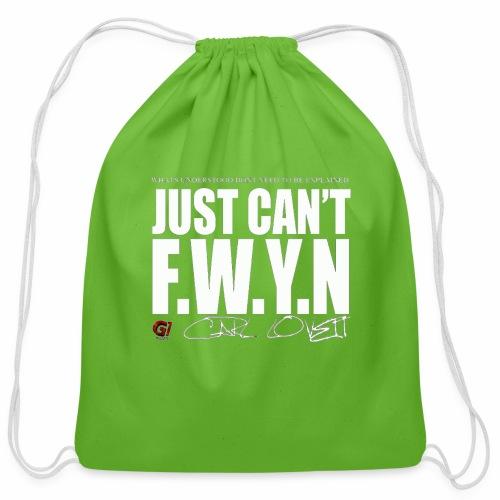 FWYN in White - Cotton Drawstring Bag