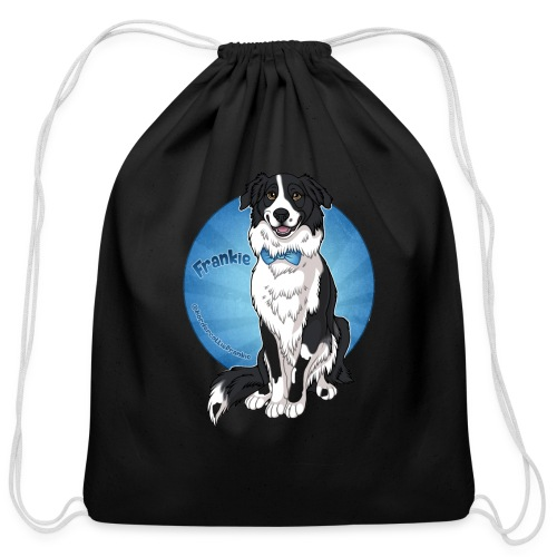 Border Collie Frankie Full Colour With Name - Cotton Drawstring Bag