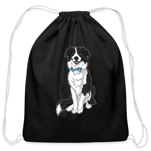 Border Collie Frankie - Transparent Background - Cotton Drawstring Bag